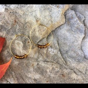Lightweight Gold Hoops With Brown Glass Beads
